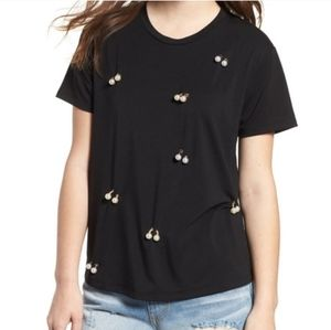 3/$30 Nordstrom Black Tee Pearl's- NEW WITH TAGS